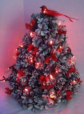 Vintage Pine Cone Tree Handmade With Red Lights And Red Bow Cardinal Tree Topper Ebay