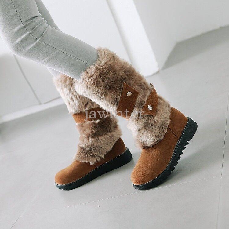 moda classica donna Mid-Calf avvio avvio avvio Fur Lined Suede Snow Warm Outdoor Casual Winter New scarpe 11  Negozio 2018