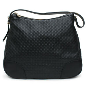 c6ab4180fd Image is loading Gucci-Bree-Guccissima-Leather-Hobo-Bag-Black-Micro-