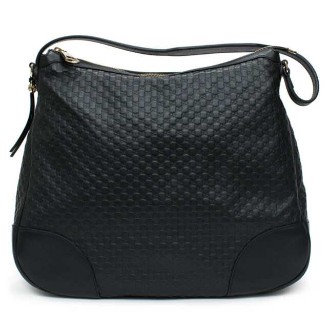 da5e722520a Gucci Bree Guccissima Leather Hobo Bag Black Micro GG Italy Handbag Large  New
