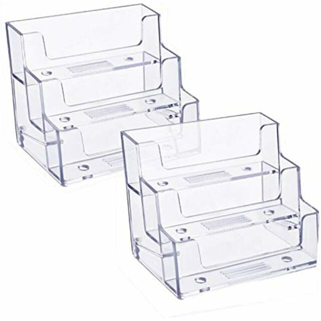4 Pocket Desktop Clear Acrylic Business Card Holder Countertop Display Stand JH