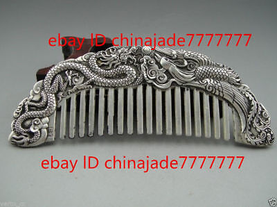 Oriental Detailed Dragon Comb Tibet Silver Chinese