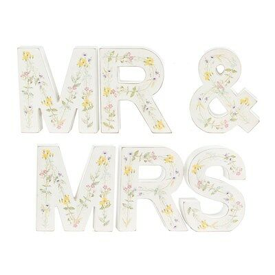 Freestanding Mr and Mrs Wooden Letters with Vintage Wildflower Design * Wedding