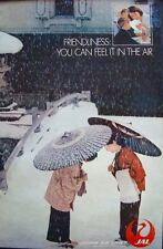 JAPAN AIRLINES FRIENDLINESS FEEL IT IN THE AIR 1981 Vintage Travel poster 25x39