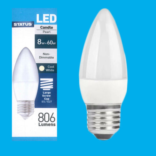 1x 8W =60W Pearl Candle Energy Saver LED ES E27 Light Bulb Lamp 4000K