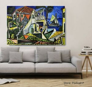 Pablo Picasso Oil Painting Mediterranean Landscape Hand Painted Canvas 24 X40 Ebay