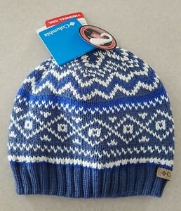 40 Columbia Womens Knit Winter Hat BLUE White Pine THERMAL COIL ... e4df068b696
