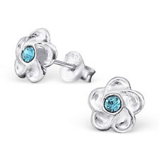 Quality 925 Sterling Silver Earrings - Silver & Aquamarine CZ Flower Studs- 7mm