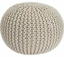 Ottomans & Footstools Round Cotton Knitted Pouffe Ball Large 50cm Foot Stool Braided Cushion Seat Rest Home, Furniture & Diy