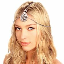 Kristin Perry Silver Tikka Crystal Pendant Chain Bridal Headpiece Headband