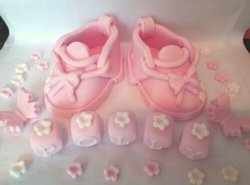 Christening Birthday Baby Girl//Boy Booties shoes Handmade cake decoration topper