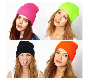 Women Men Beanie Knitted Hat Solid Cap Winter Warm Unisex Casual ... b8459ead2699