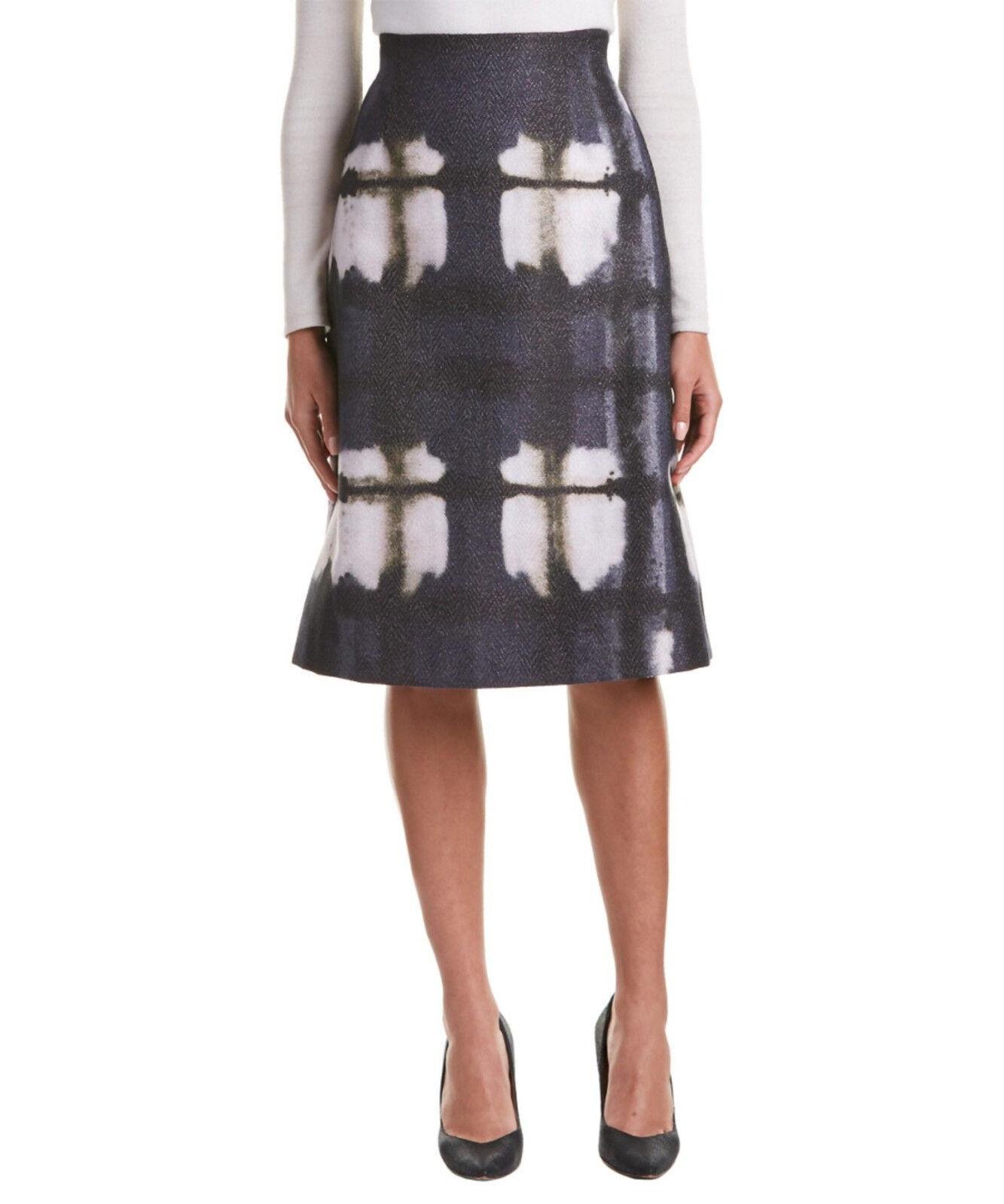 NWT Lafayette 148 New York 'Yvette' Print Metallic A-Line Skirt ,sz.8