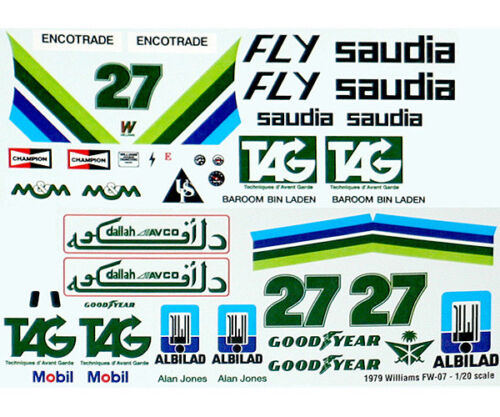 WILLIAMS FW07 1979 JONES REPLACEMENT TRANS DECAL for TAMIYA 1//20