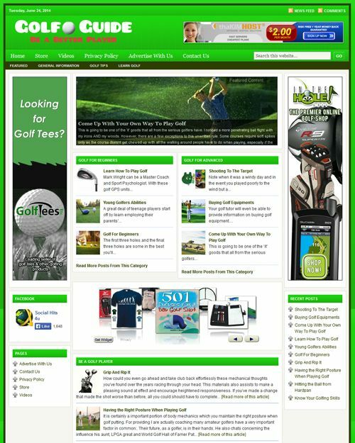 GOLF GUIDE - PROFESSIONAL DESIGNED NICHE WEBSITE WITH INTEGRATED STORE