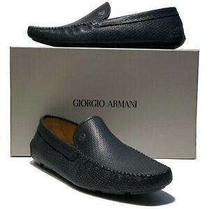 58230efc859 Armani Black Pebbled Leather Bit Loafers Driver Mens Dress Shoes 11 ...