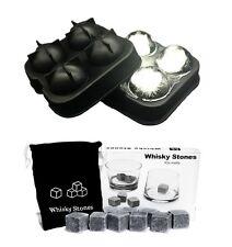 Combo 9 Whiskey Whisky Scotch Soapstone Stone Ice Cubes Rocks 4 Ball Mold Maker