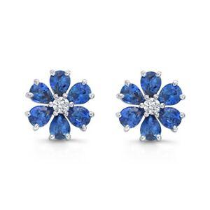 a3bfc3bf1 4Ct Pear Cut Blue Sapphire Diamond Floral Stud Earrings 14K White ...