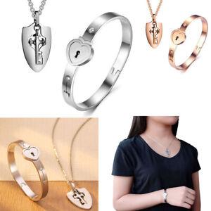 Stainless Steel Love Heart Lock Bangle Bracelet and Key Pendant Necklace Set