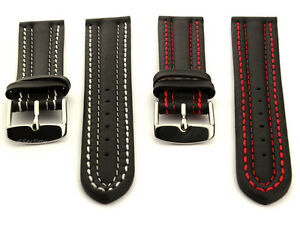 Two-piece Men's Genuine Leather Watch Strap Band Double Stitched 18 20 Zurich MM
