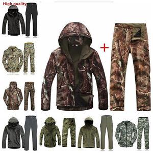 Men Soft Shell  SharkSkin Waterproof Tactical Jacket Hoodie Outdoor Set Hot Sell