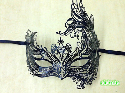 Luxury Angel Black Filigree Metal Laser Cut Venetian Masquerade Costume Mask