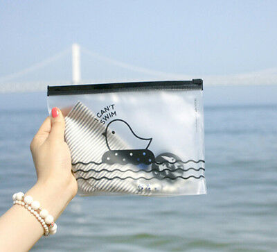 FD2379 Zipper Transparent Duck Office Cosmetic Make Up Stationery Bag Pouch