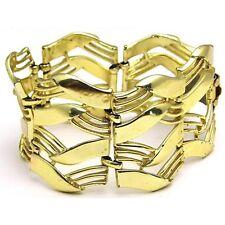 Vintage 7.5in 38mm CORO Wide Huge Link Bracelet w/ Cutout Design Gold Tone