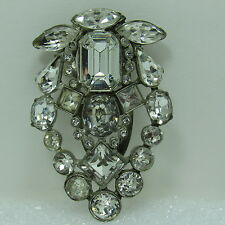 Vintage 1940s Clear Rhinestone Dress Fur Clip Round Oval Squares