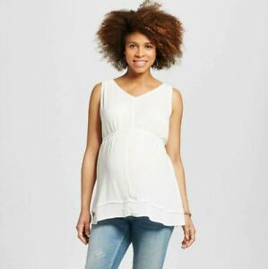New Women/'s Maternity Clothes Top Cream Tunic Shirt NWT Size Large