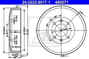 2x Bremstrommel für Bremsanlage Hinterachse ATE 24.0222-8017.1
