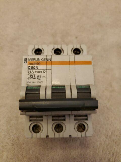 Merlin Gerin Multi 9 C60N 6A type C 480VAC  3 Pole Breaker    C60N 6A