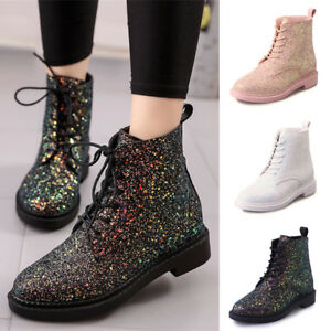 Womens Glitter Lace Up Ankle Boots Flat