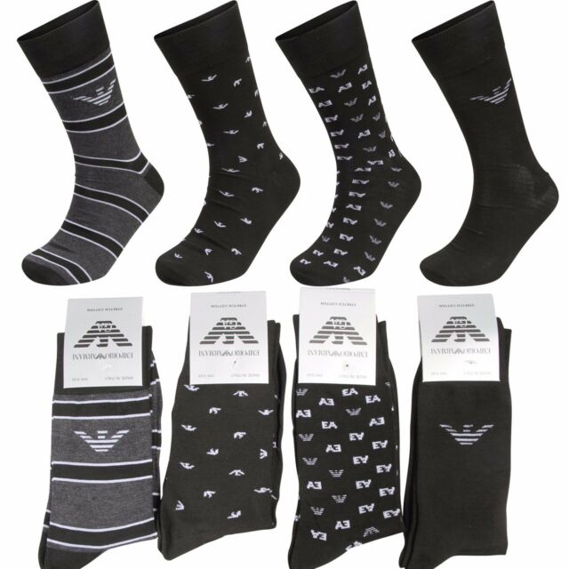 Mens Emporio Armani Black Cotton Designer Dress Suit Socks 4 Pair Pack  UK 6-11
