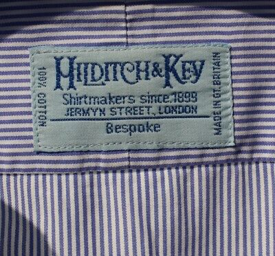 Hilditch & Key Bespoke 14.5 / 32 Blue Striped Dress Shirt - England - $180.00!