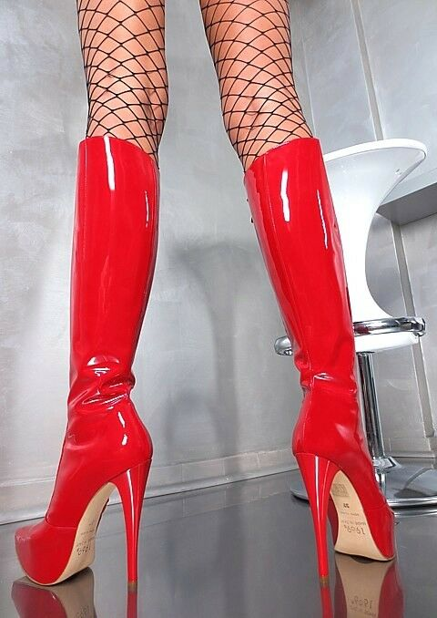 MADE IN ITALY CLASSIC PLATEAU HIGH HEELS Stiefel A32 PLATEAU CLASSIC STIEFEL SCHUHE LEDER ROT 38 c70ff2