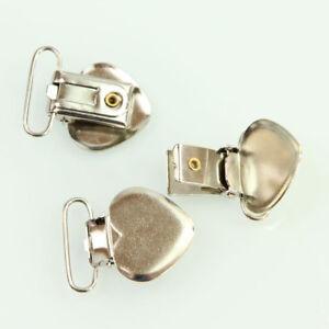 20 Pcs Heart Shape Plastic Insert Pacifier Suspender Clips Holder Crafts Metal