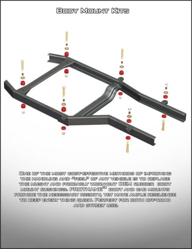 "8 U60087R Universal Polyurethane Body Mount Bushing Set 2/"" x 11//16/"" Round"
