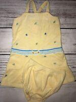 Gymboree Beach Dress 3 To 6 Months 2 Piece Set Yellow Terrycloth Undies