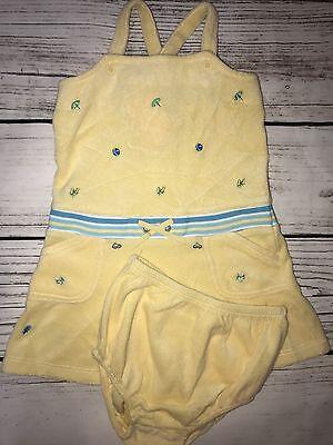 NEW Gymboree Beach Dress 18 To 24 Months 2 Piece Set Yellow Terrycloth Undies
