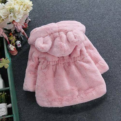 Toddler Baby Girls Fluffy Fur Hooded Parka Coat Winter Fleece Warm Outwear Tops