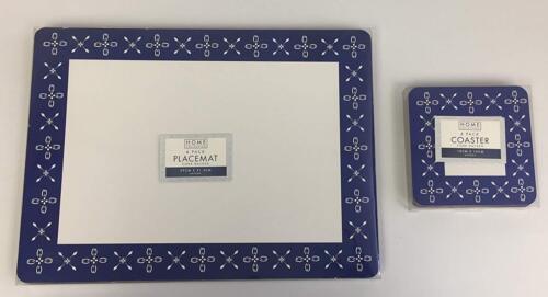 Traditional Blue /& White Lot de 4 sets de table et 4 sous-verres