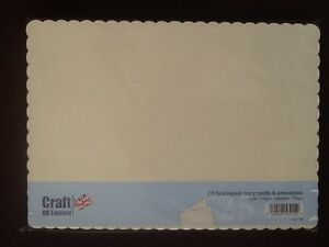 C5 IVORY SCALLOPED CARDS (270GSM) & ENVELOPES (100GSM)-25 PK- SCORED-FREE POST