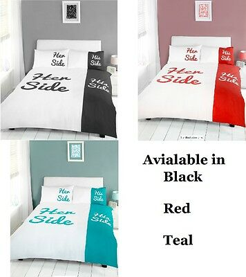 His And Hers Side Couples Duvet Quilt Cover Bedding Bed