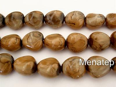 12 11 x 9 mm Czech Glass Nugget Beads Marbled Brown Pearl Coated