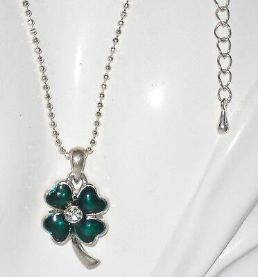 Cute Silver Emerald Green Enamel Shamrock Lucky 4 Clover Pendant Necklace  2a 32