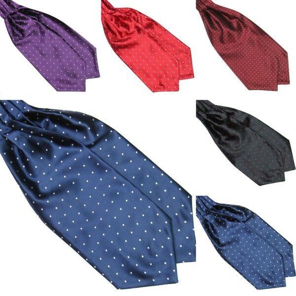 Trendy Polka Dot Men Long Silk Scarves/Cravat Ascot Ties Handkerchief Gentlemen