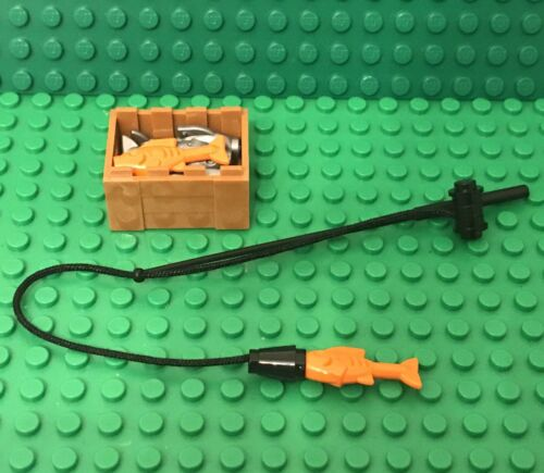 Lego MOC Fishing Rod With 3 Orange,3 Flat Silver Fish And Crate Chest Container