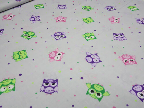 Tela de algodón popelín lechuzas puntito gris lila verde rosa niños sustancia