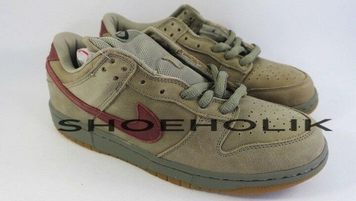 Brand New 2005 NIKE DUNK LOW PRO SB GRIT GREY TEAM RED GUM - Size 9 Deadstock